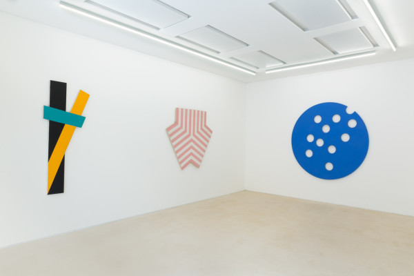 Installation View PEER, London 2016. Jeremy Moon paintings, from left to right, 3/73 (1973), English Rose (1967), Out of Nowhere (1964).