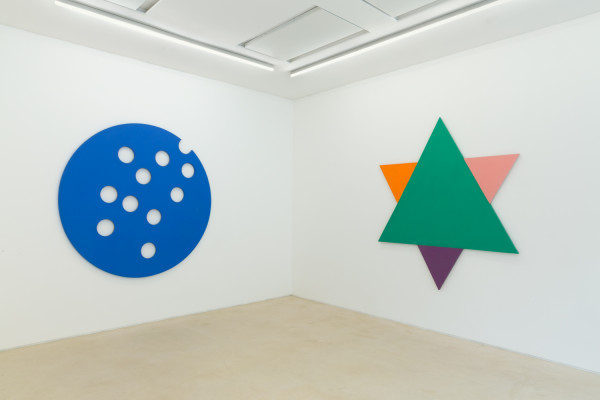 Installation View PEER, London 2016. Jeremy Moon paintings, from left to right, Out of Nowhere (1965), Shadows (1965).